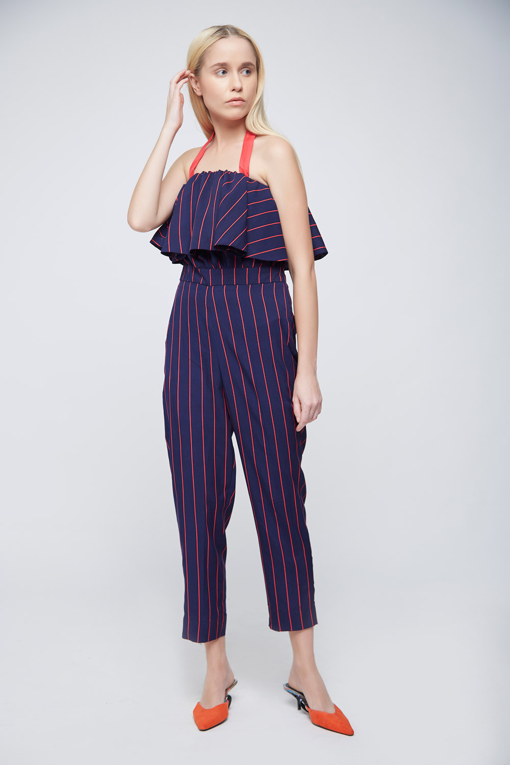 Red Blue Striped Jumpsuit -1