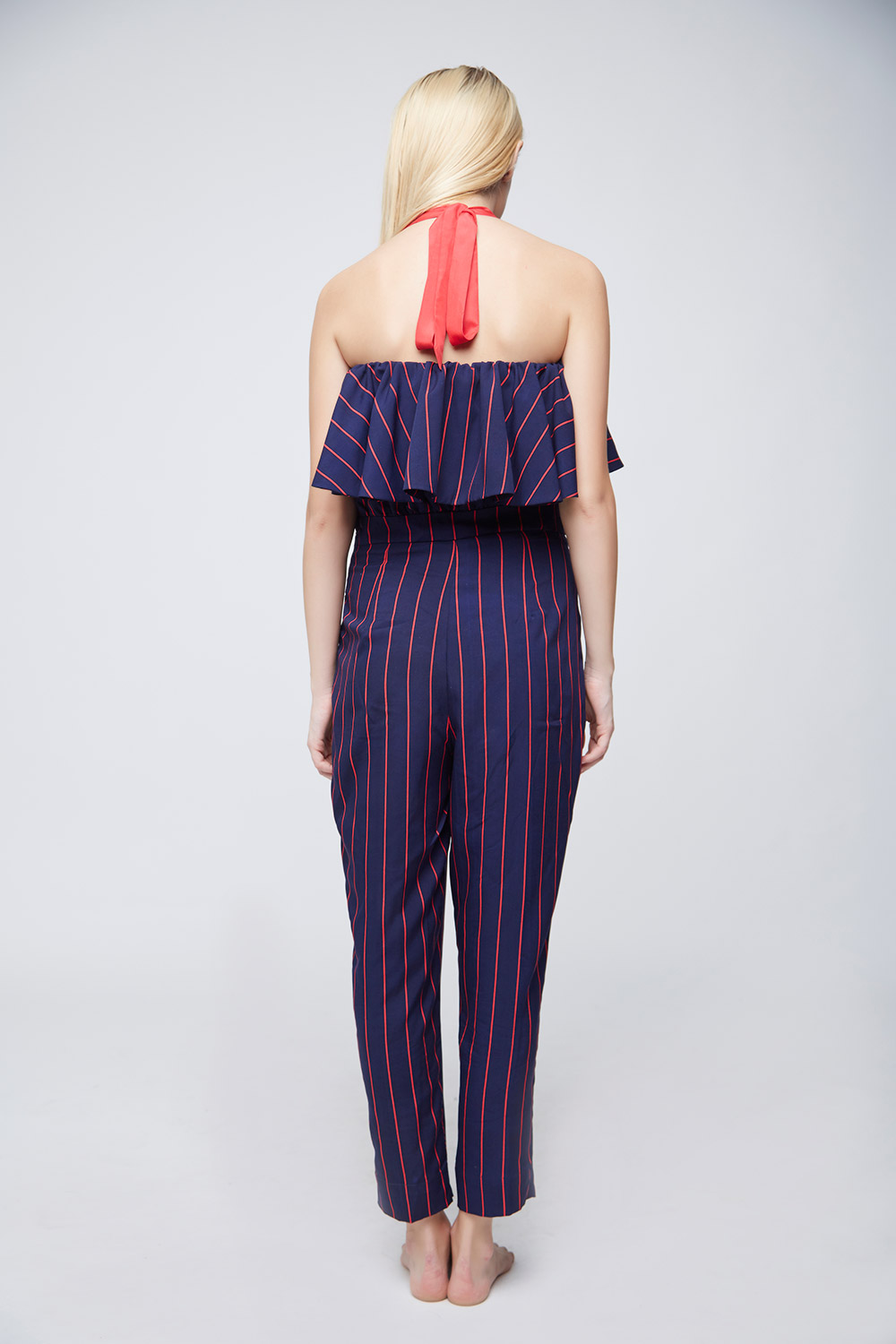 Red Blue Striped Jumpsuit -3