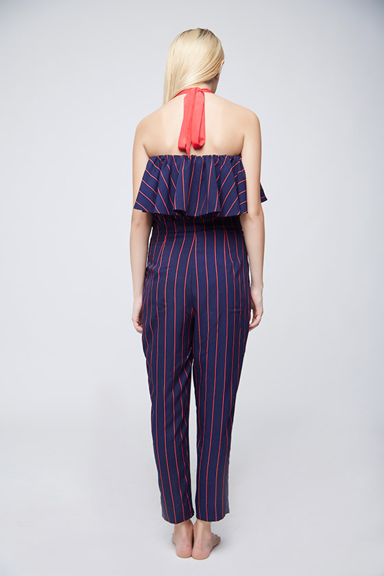 Red Blue Striped Jumpsuit - Back