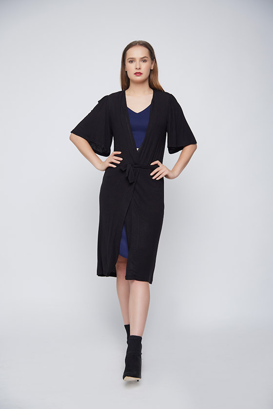 Black Casual Outerwear - Front