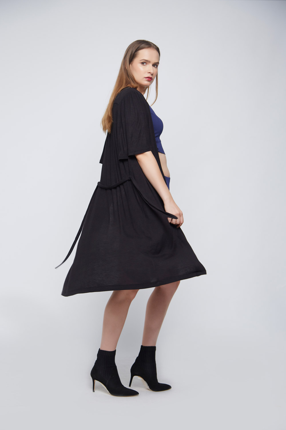 Black Casual Outerwear - Back