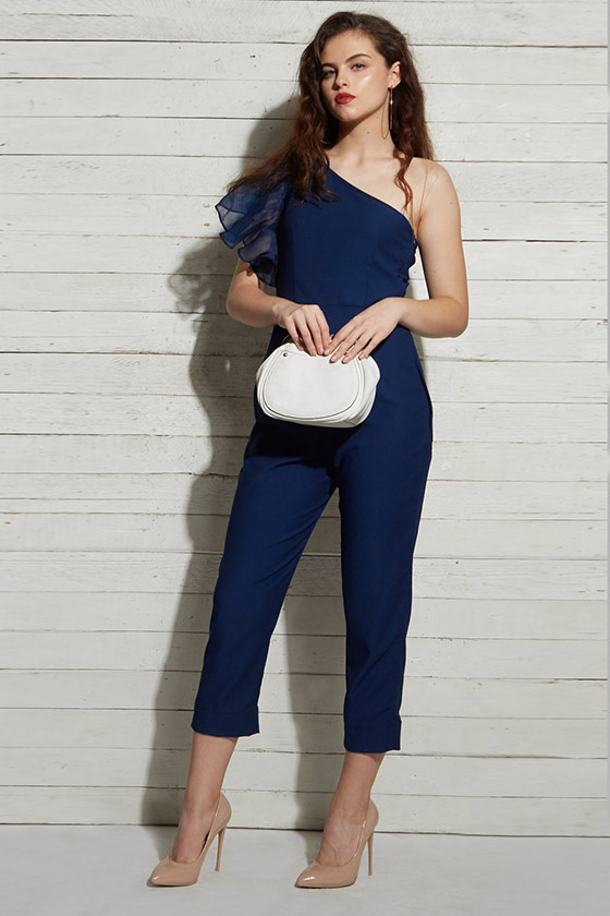 Blue Ruffle Evening Jumpsuit - Back