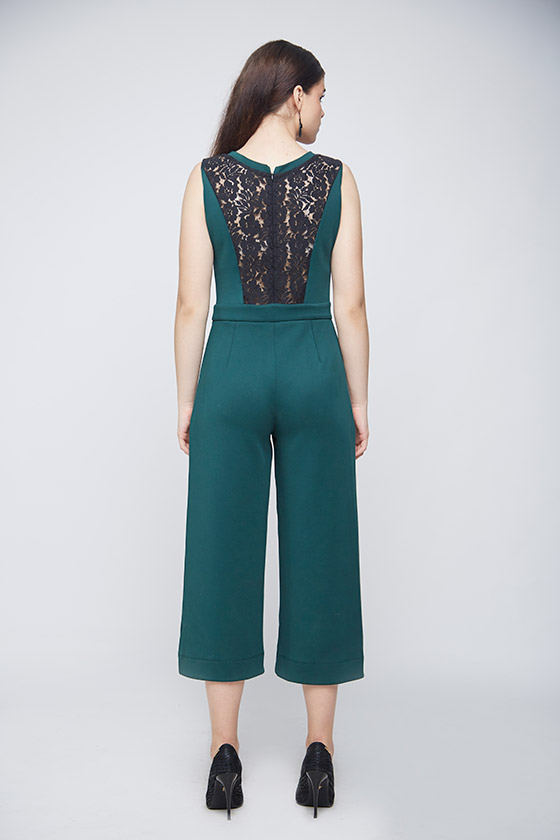 Green Lace Jumpsuit - Back