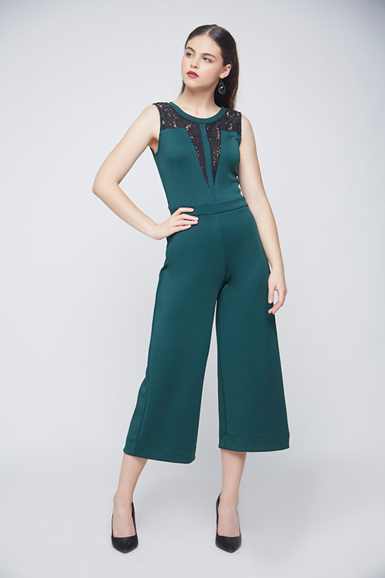 Green Lace Jumpsuit - Front