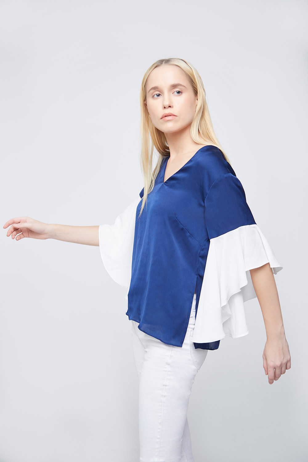 Blue Ivory Top With Asymetric Ruffle Sleeves -0
