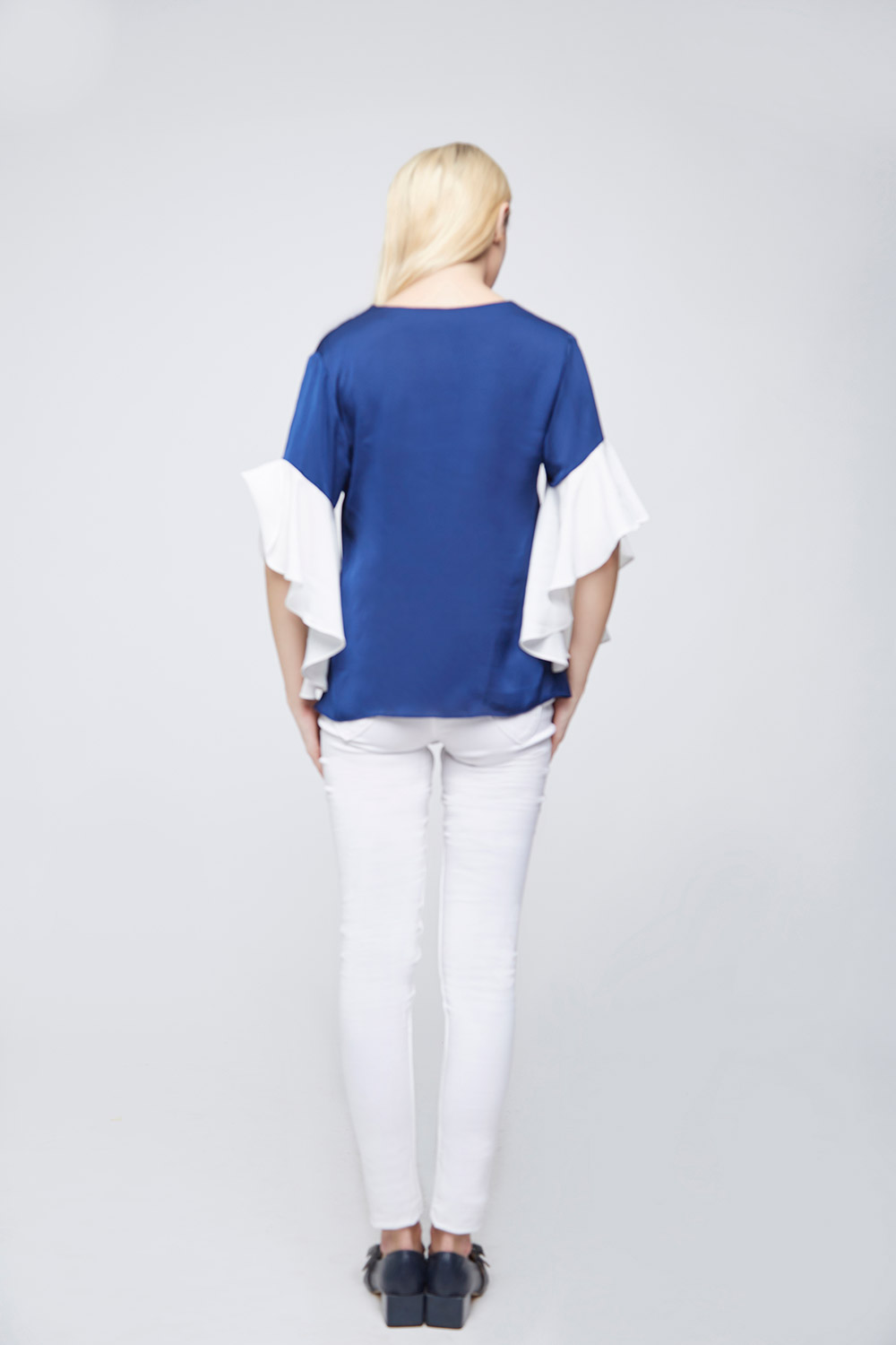 Blue Ivory Top With Asymetric Ruffle Sleeves -1