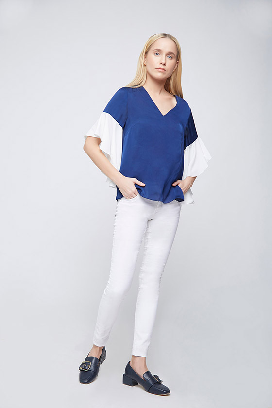 Blue Ivory Top With Asymetric Ruffle Sleeves - Front