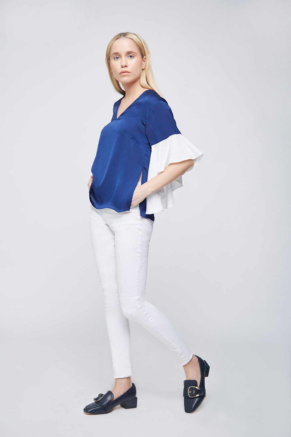 Blue Ivory Top With Asymetric Ruffle Sleeves - Back