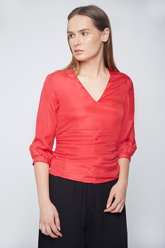 Red Silk Top With Side Gathers - Front