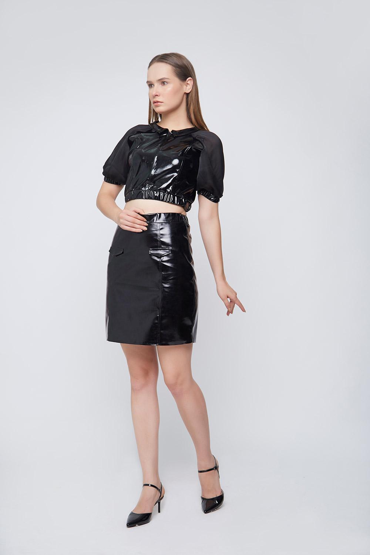 Black Leatherite Drop Shoulder Sleeves Top - Back
