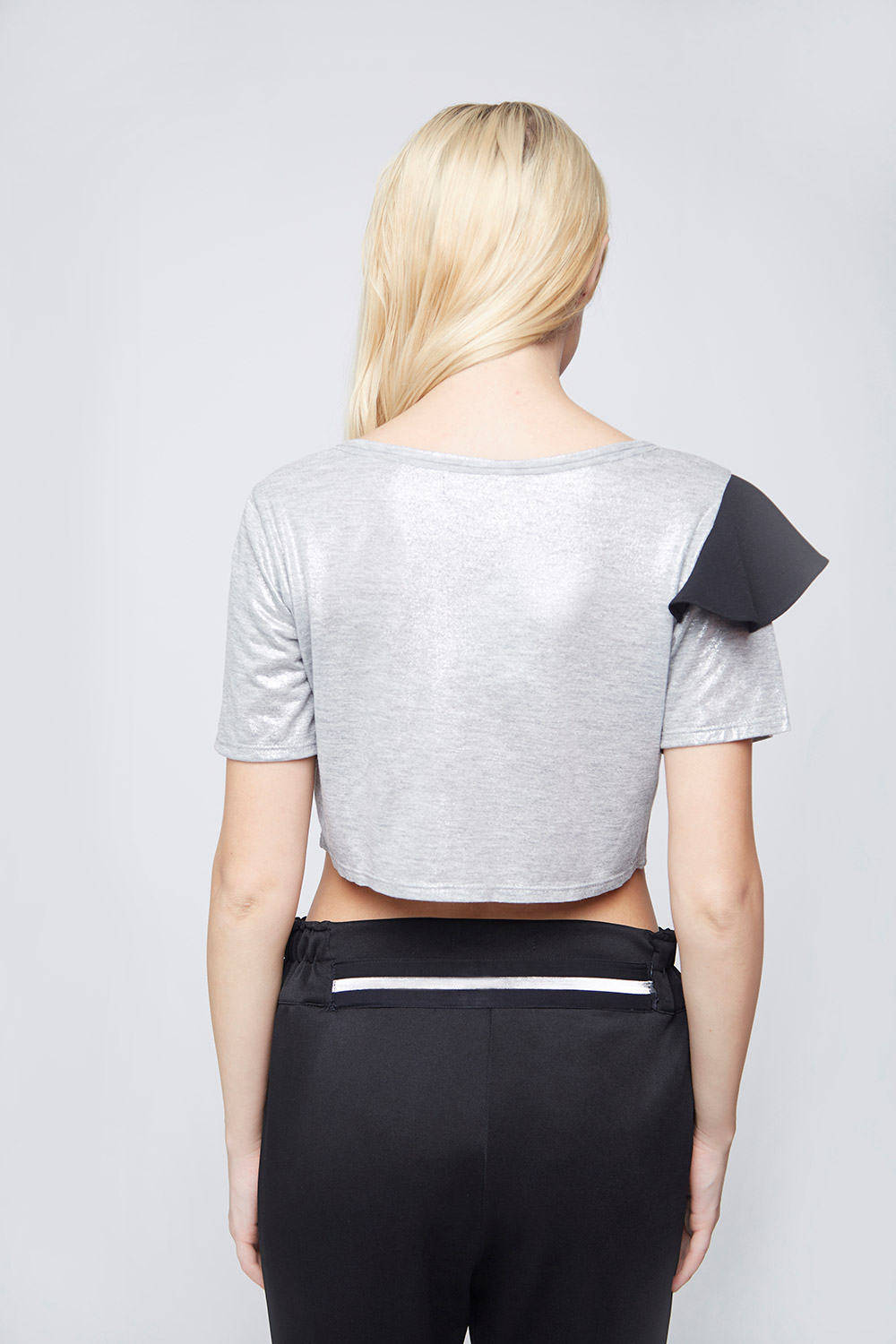 Grey Shimmer Fake Pocket Crop Top -1