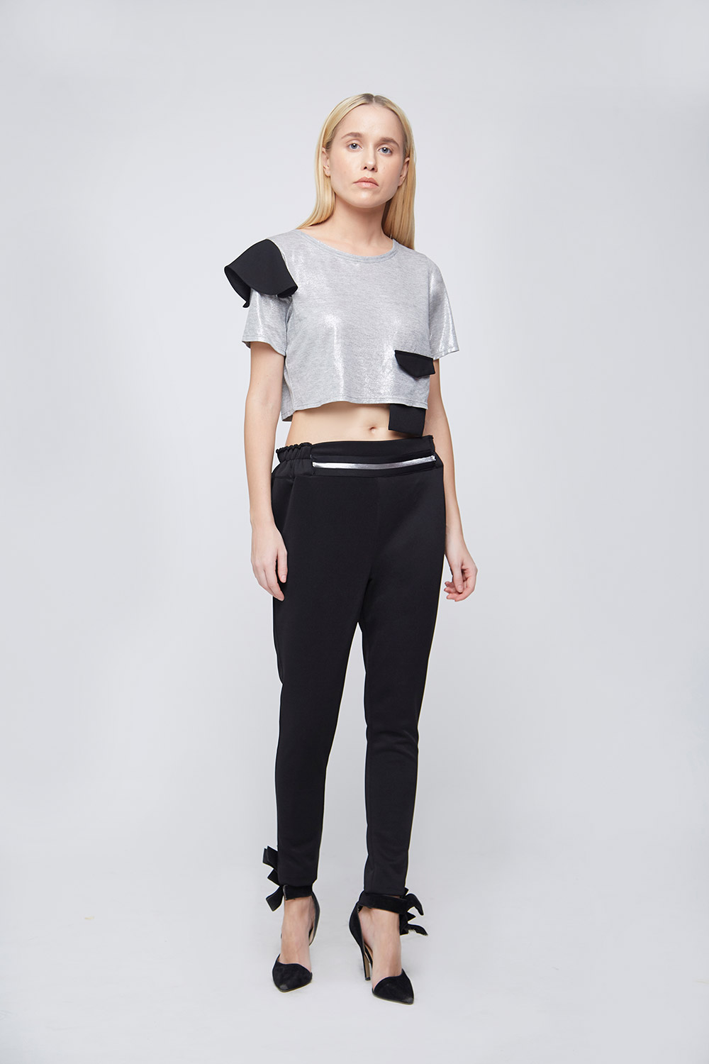 Grey Shimmer Fake Pocket Crop Top -2