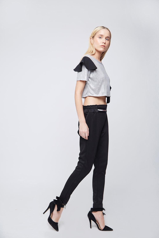 Grey Shimmer Fake Pocket Crop Top - Back