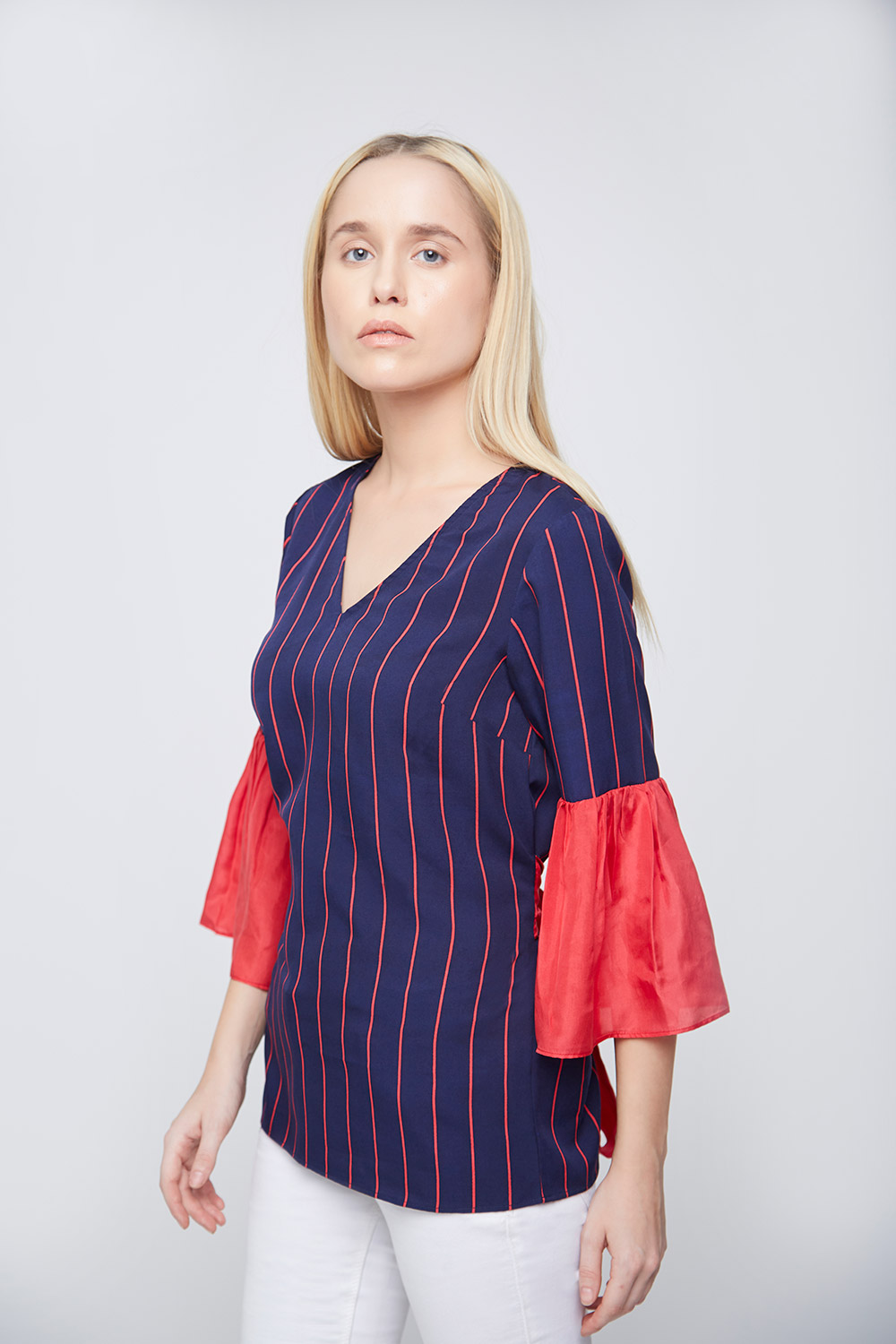Blue Red Stripes Bell Sleeves Top -0