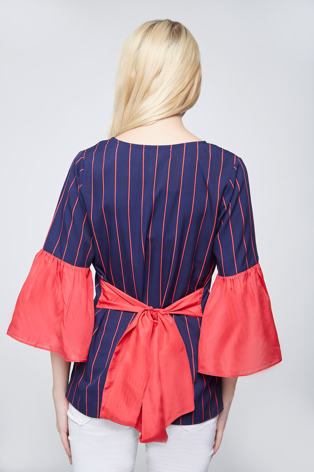 Blue Red Stripes Bell Sleeves Top -1