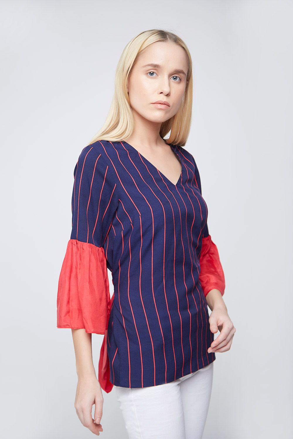 Blue Red Stripes Bell Sleeves Top - Front