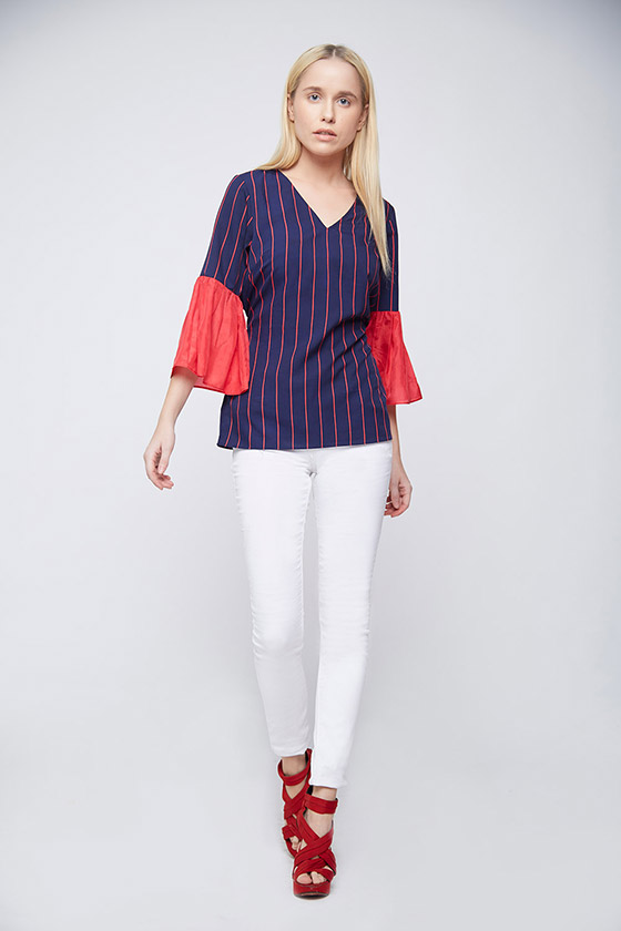Blue Red Stripes Bell Sleeves Top - Back