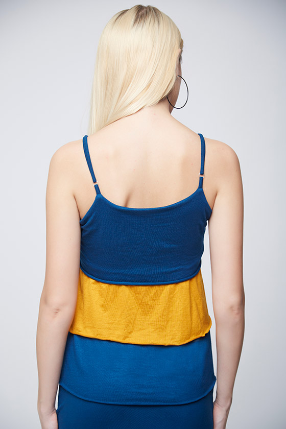 Layered Mustard and Blue Top -3