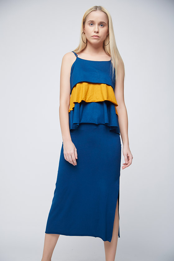 Layered Mustard and Blue Top - Front