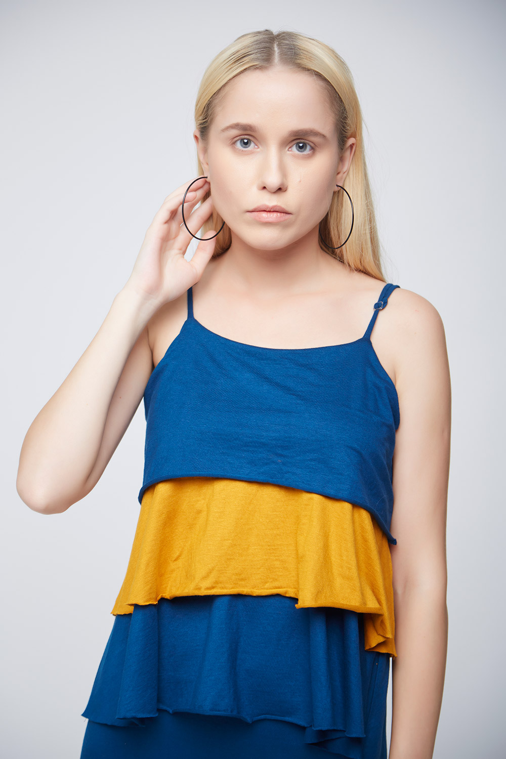 Layered Mustard and Blue Top - Back