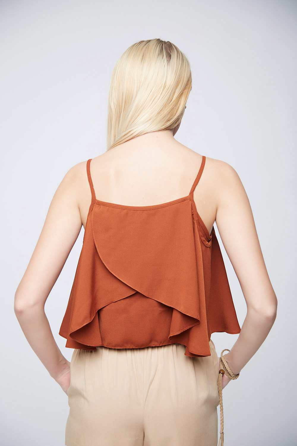 Shoulder Ruffle Crop Top -3