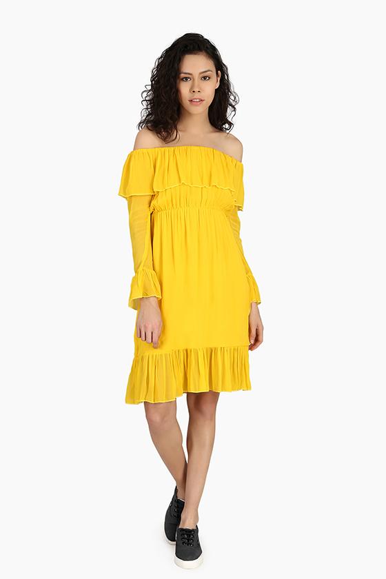 Off-Shoulder Casual Dress - Front