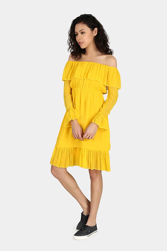 Off-Shoulder Casual Dress - Back