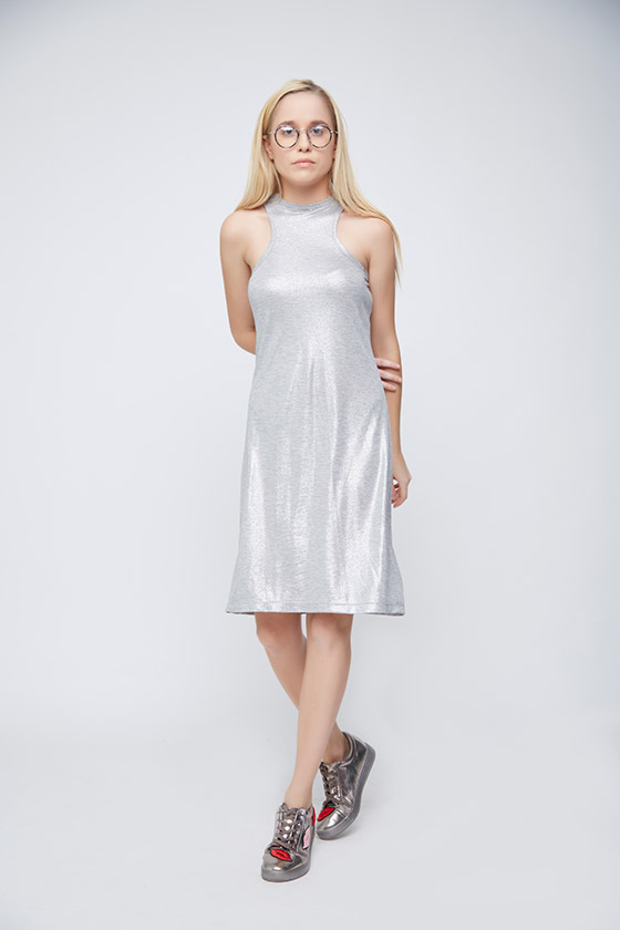 Grey Shimmer Casual Dress - Front