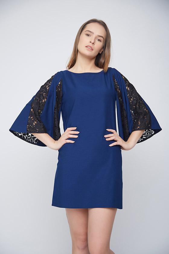 Blue Dress Black Net Pannel Sleeves - Front