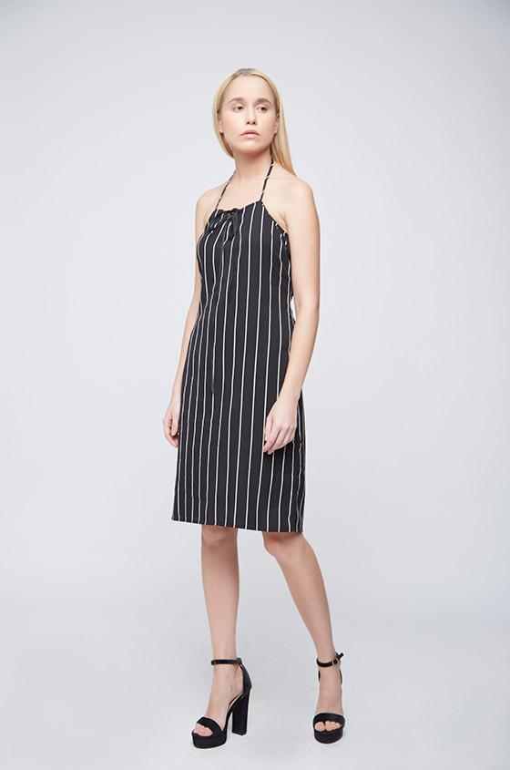 Black White Stripes Ramona Dress - Front