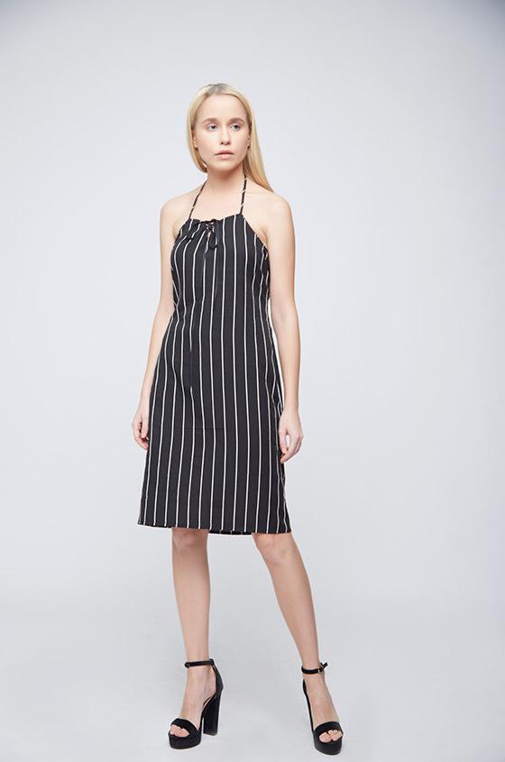 Black White Stripes Ramona Dress - Back