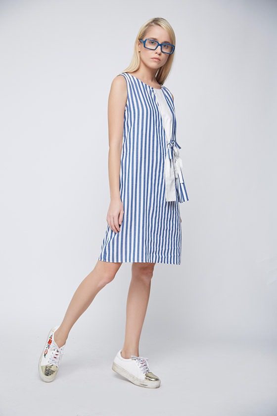 Striped Hanging Bow Dress - Back
