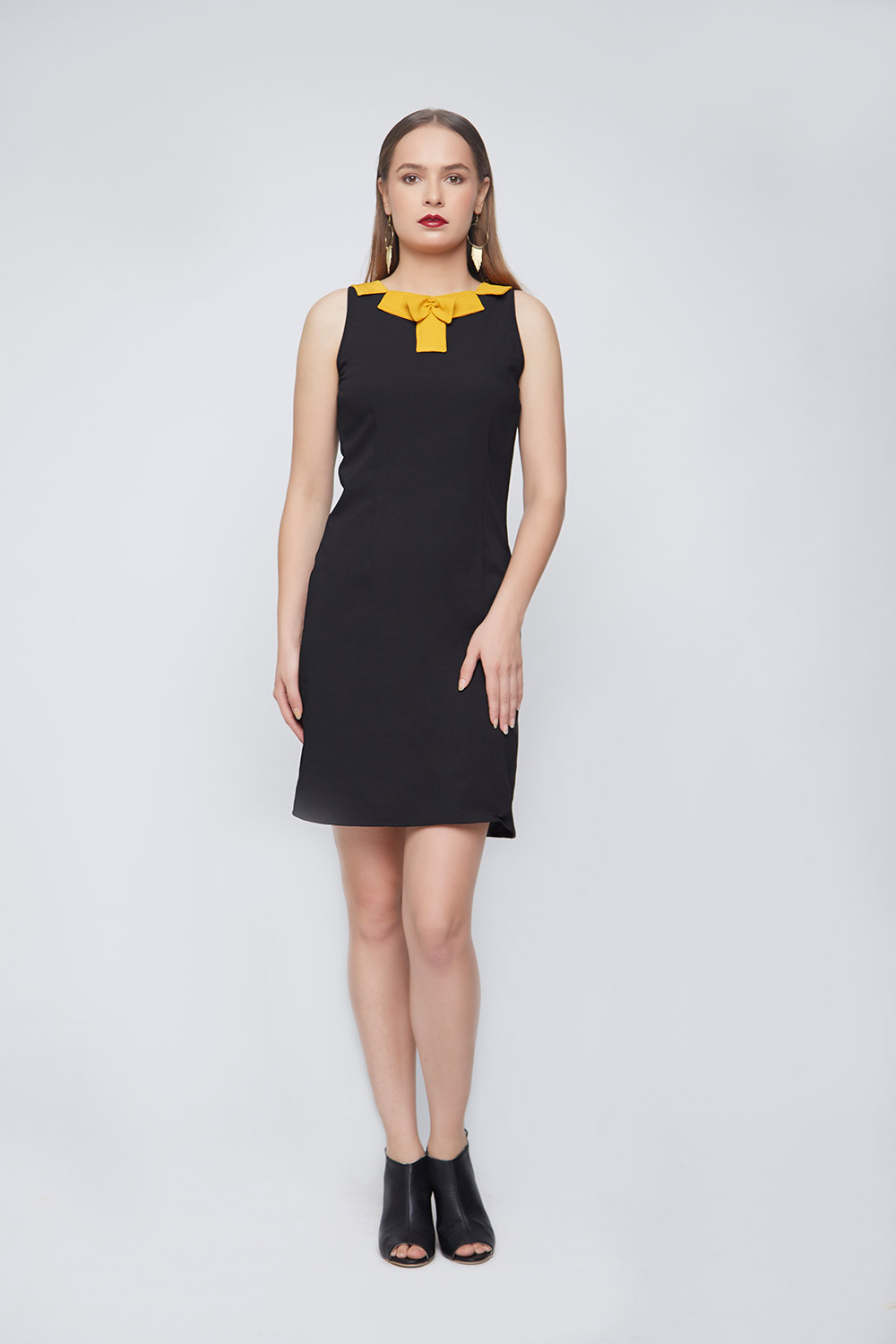 Mustard Block Neck Casual Dress -3
