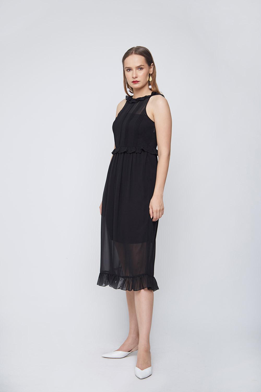 Black Pleated Dress -3