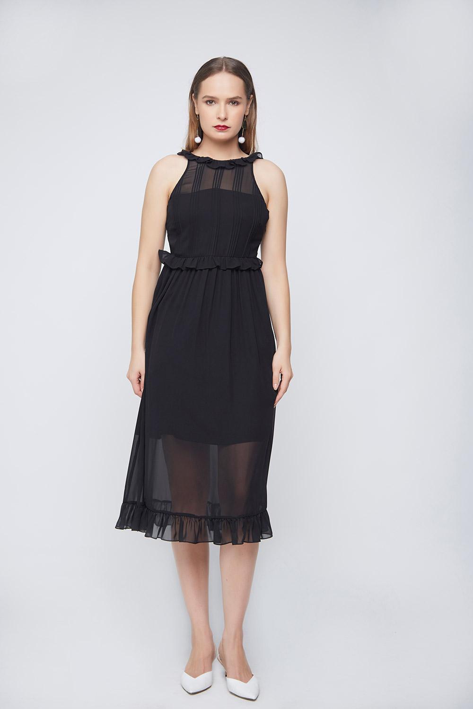 Black Pleated Dress -0