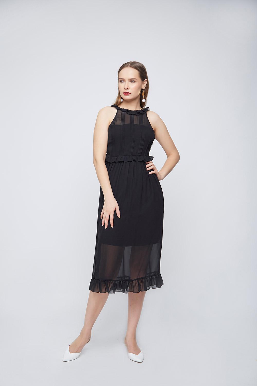Black Pleated Dress -2