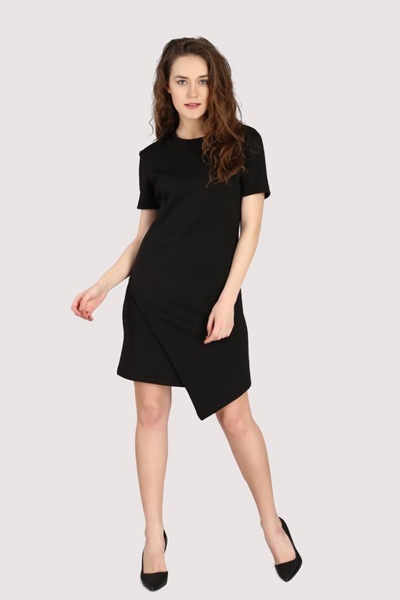 Black Asymmetric Dress - Back