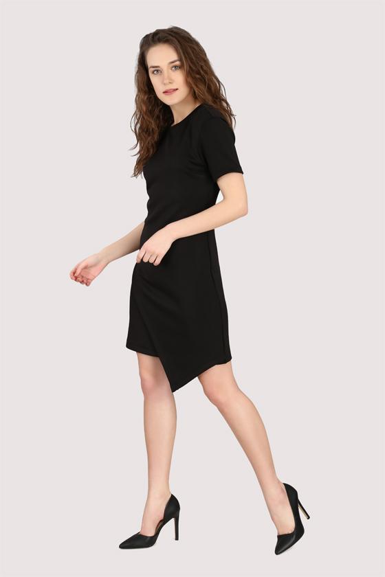 Black Asymmetric Dress - Front