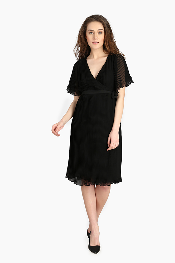 Over Lapping Pleated Dress - Front