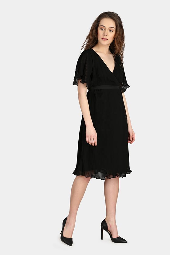 Over Lapping Pleated Dress - Back