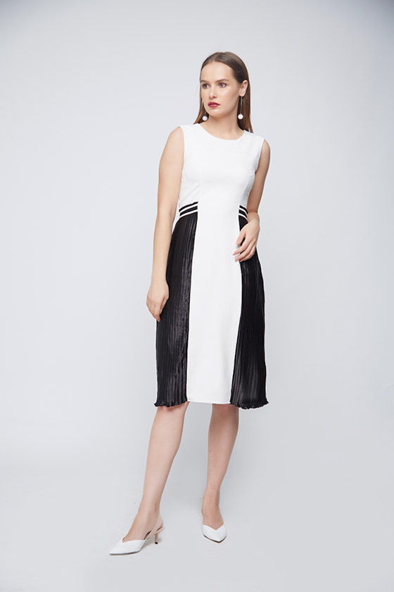 Monochrome Pleated Dress - Front