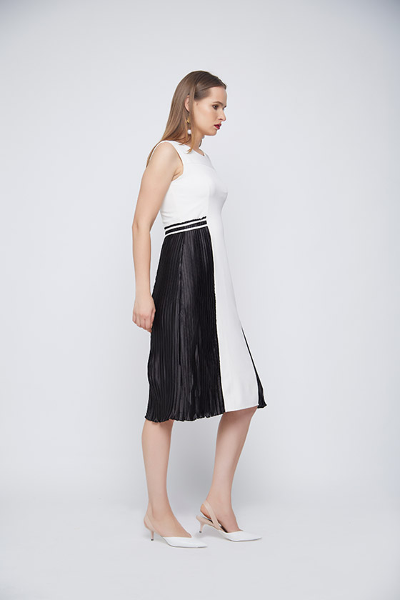 Monochrome Pleated Dress - Back