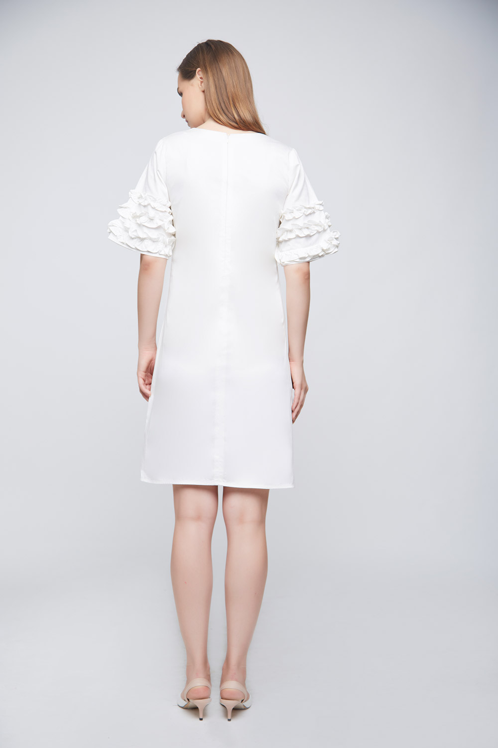White Ramona Ruffle Dress -1