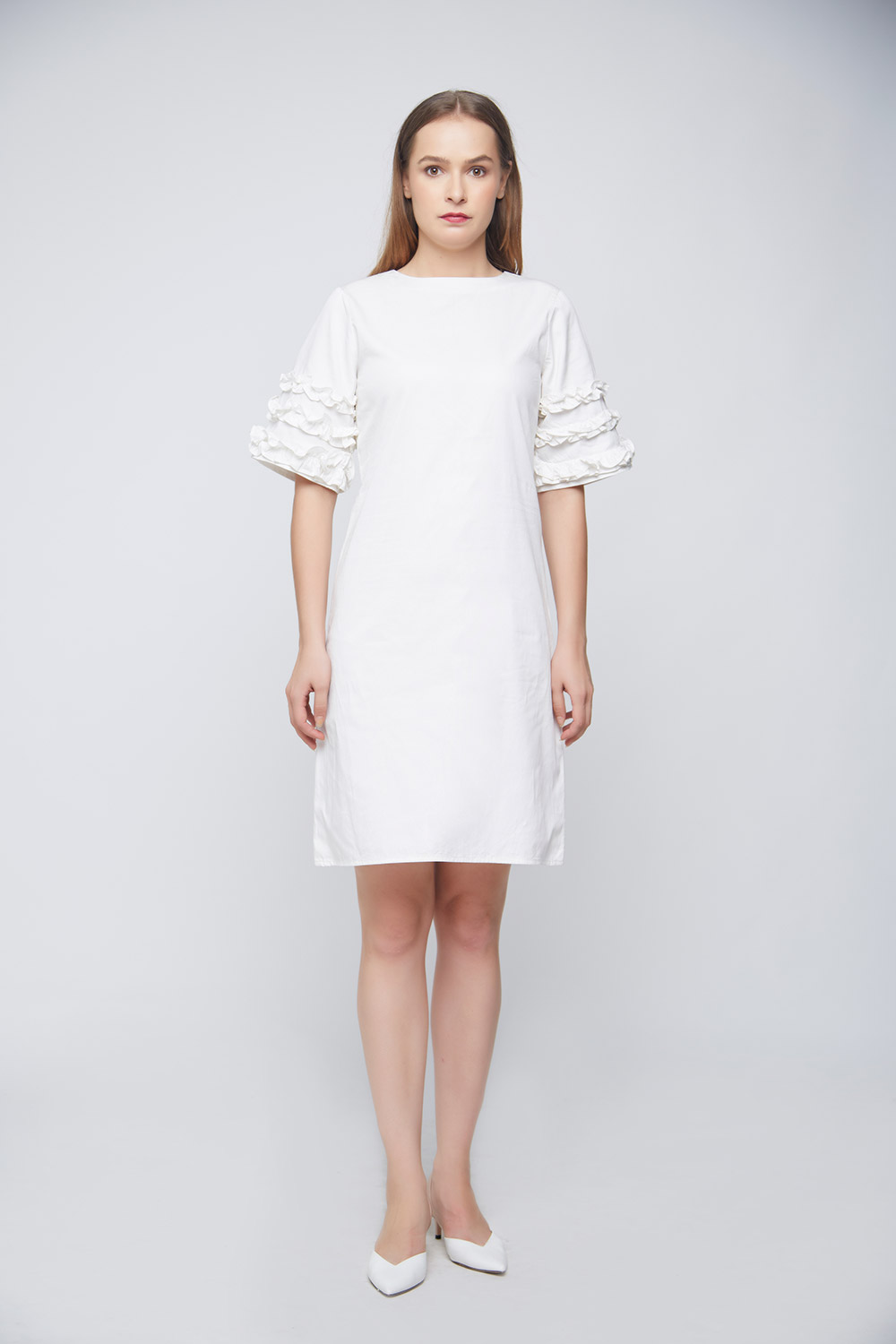 White Ramona Ruffle Dress -3