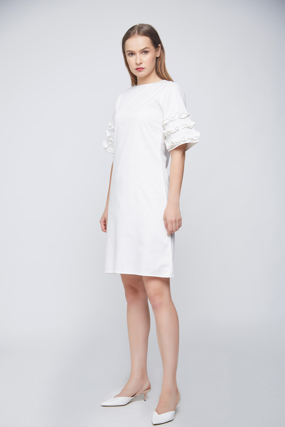White Ramona Ruffle Dress -0