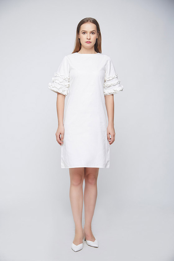 White Ramona Ruffle Dress - Front