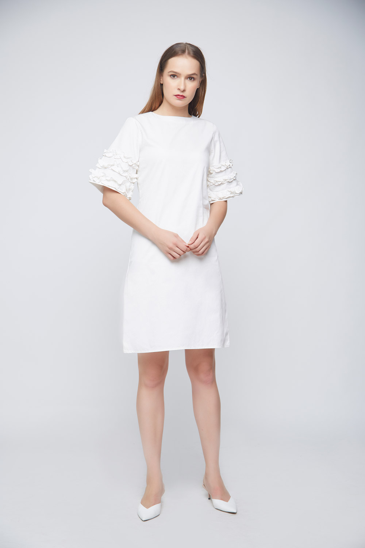 White Ramona Ruffle Dress - Back