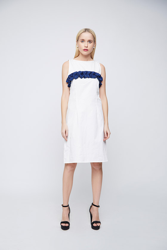 White Sheath Blue Ruffle Dress - Front