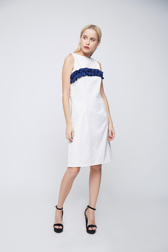 White Sheath Blue Ruffle Dress - Back