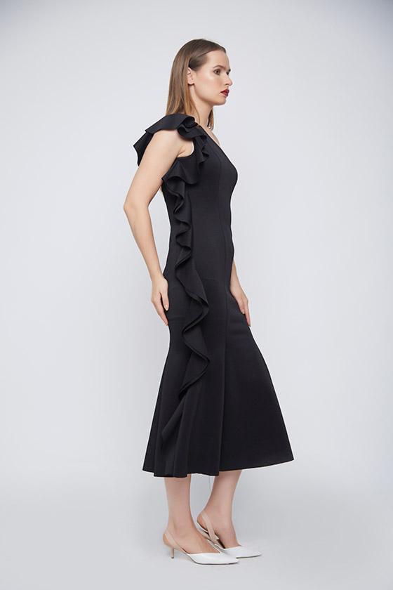 Bodycon Black Punto Dress - Back
